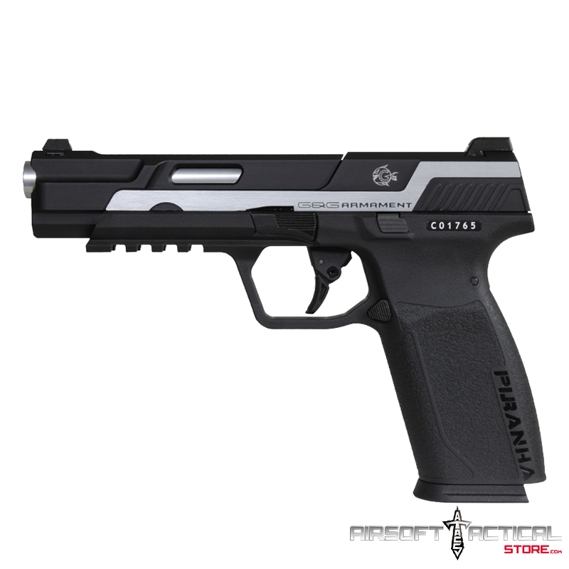 Piranha MK1 Gas Blowback Airsoft Pistol (Color: Two-Tone Silver) by G&G Armament