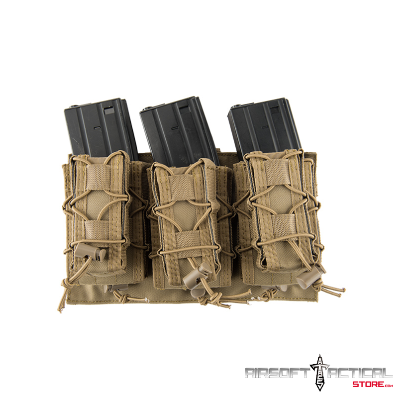 1000D Nylon Molle 2-IN-1 Triple M4/Pistol Mag Pouch (Color: Tan) by Lancer Tactical