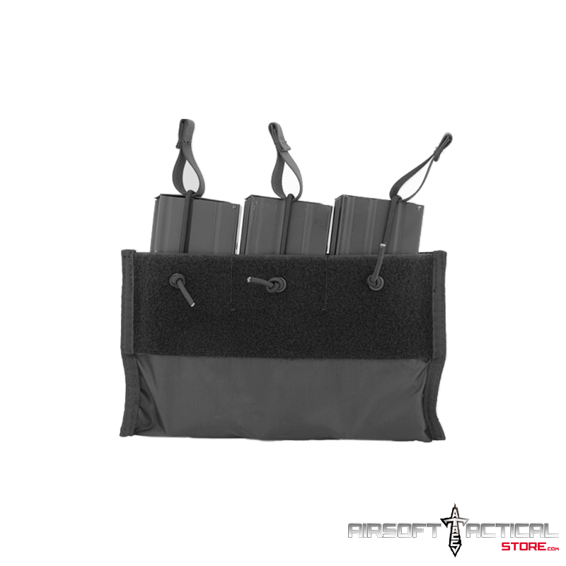 Nylon Triple Inner M4 Mag Pouch (Color: Black) by Lancer Tactical