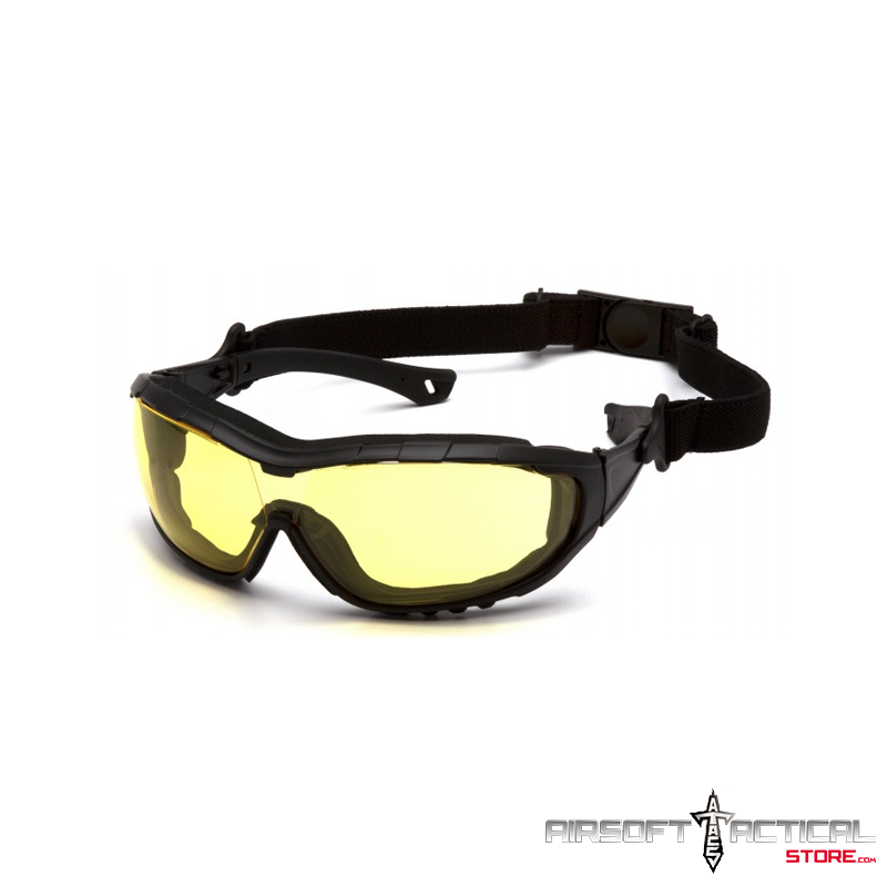 Amber H2X Anti-Fog Yellow Lens with Black Temples/Strap by Pyramex