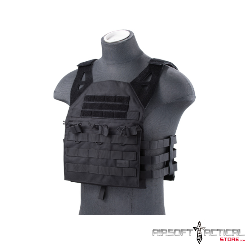 JPC Style Lightweight Tactical Vest 2.0 with Retention Cords (Color: Black) by Lancer Tactical