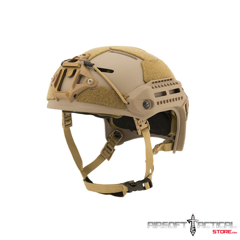 MT Helmet w / Side Rails and Shroud (Color: Tan) by Lancer Tactical