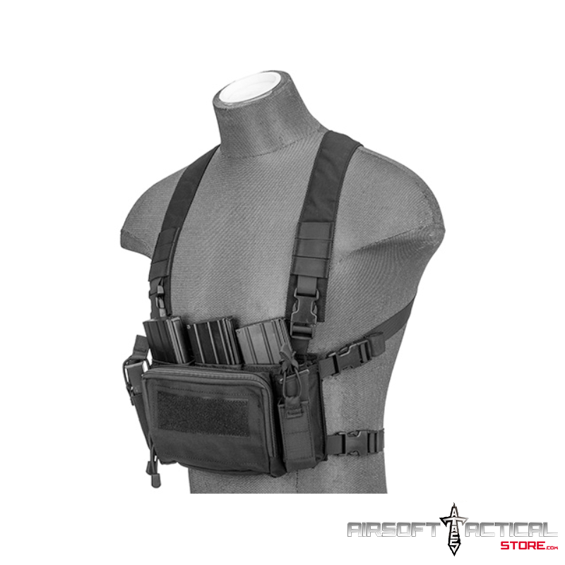 Multifunctional Tactical Chest Rig (Color: Black) by Lancer Tactical