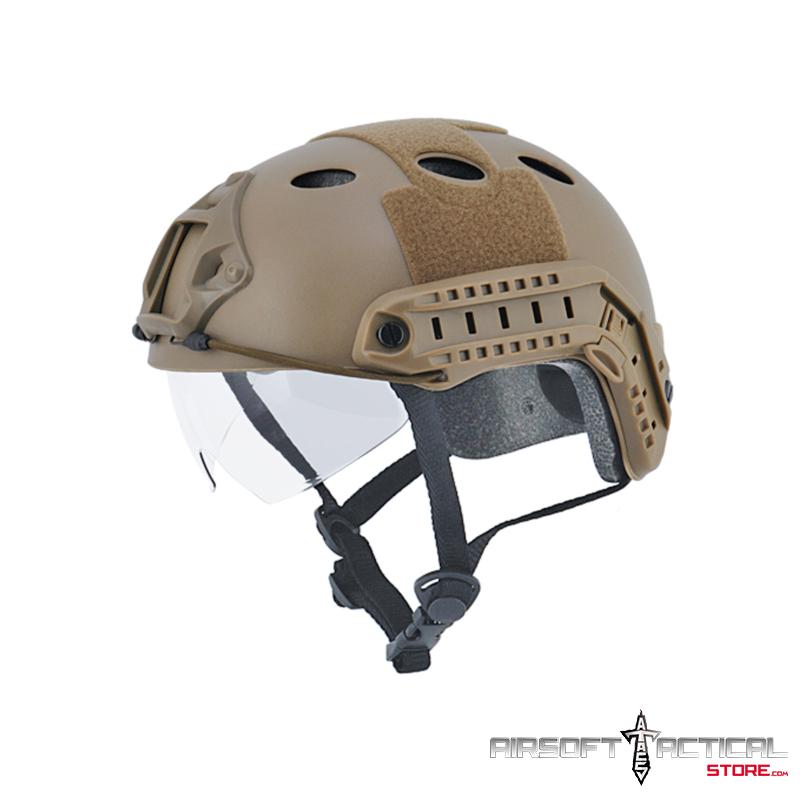 "Helmet PJ Type ""Basic Version w Visor"" (Color: Dark Earth) Size: Medium by Lancer Tactical"