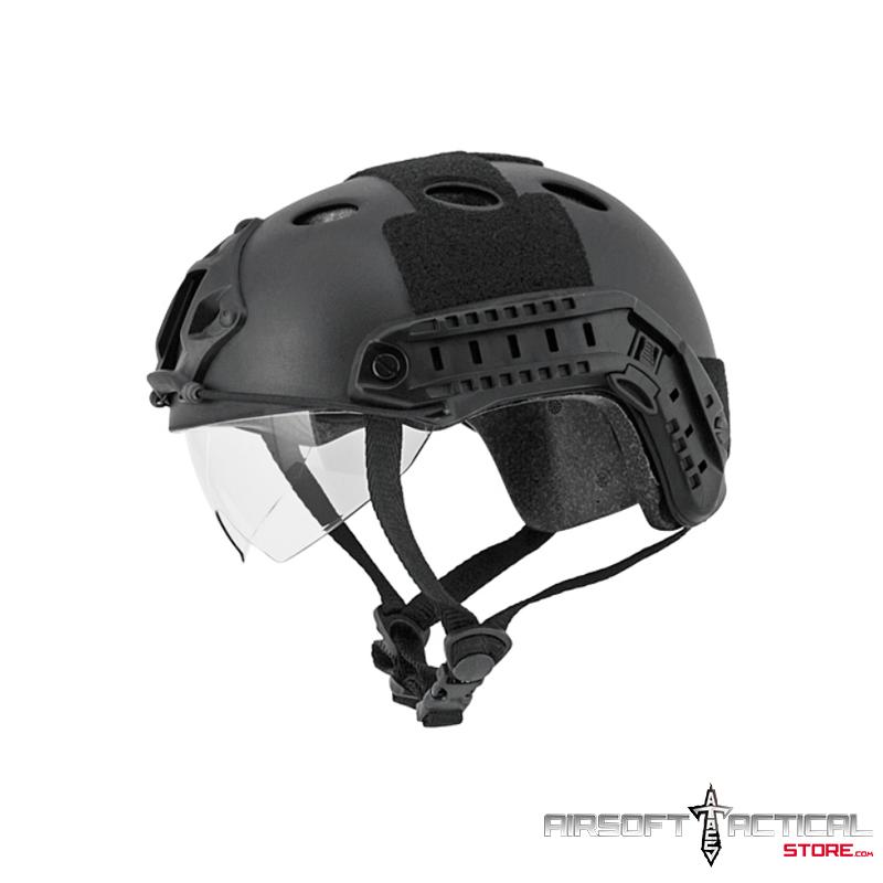 """Helmet PJ Type """"Basic Version w Visor"""" (Color: Black) Size: Medium by Lancer Tactical"""