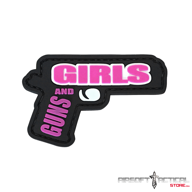 Guns and Girls PVC Morale Patch (Color: Black / Pink) by Lancer Tactical