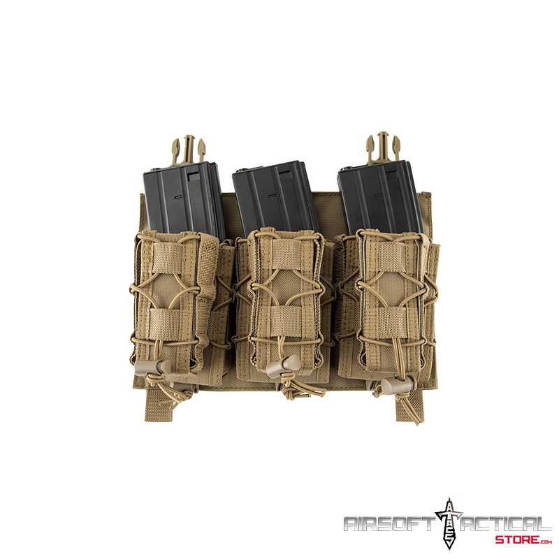 Adaptive Hook and Loop Triple M4/Pistol Mag Pouch (Color: Tan) by Lancer Tactical